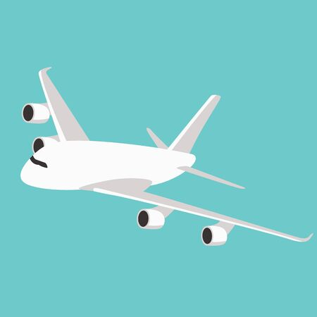 passenger plane ,vector illustration, flat style, profile side 일러스트