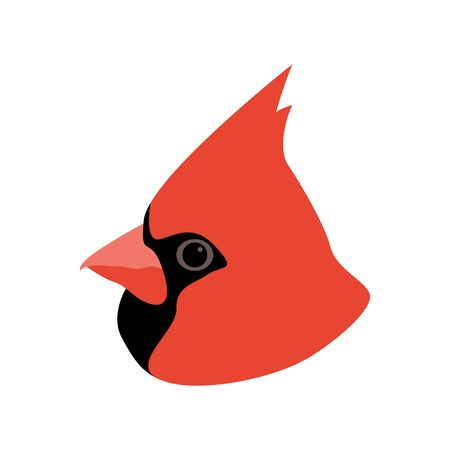 cardinal bird head, vector illustration,flat style, profile side