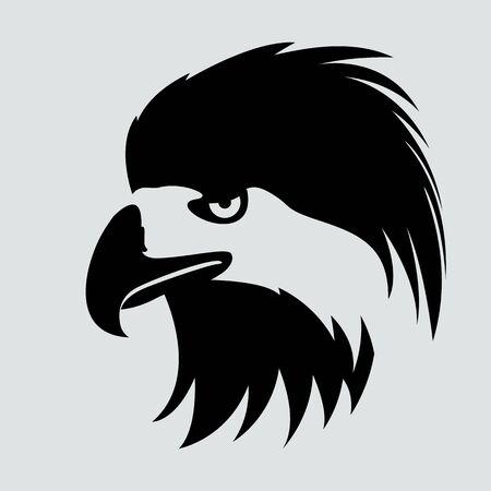 eagle bird head,  vector illustration, black silhouette, profile side