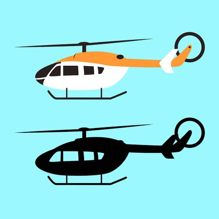 helicopter set, vector illustration, flat style  black silhouette,profile side