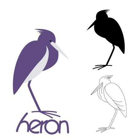 heron bird,vector illustration,flat style, silhouette  and lining draw 일러스트