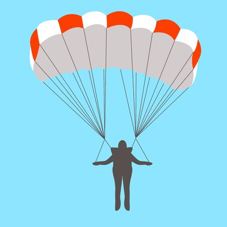 man goes down on a parachute, vector illustration, flat style