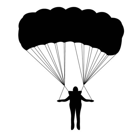 man goes down on a parachute, vector illustration, black silhouette