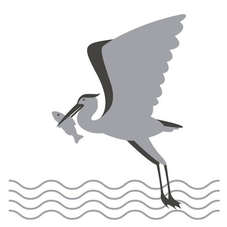 heron with fish in its beak,   vector illustration,flat style,  profile side 일러스트