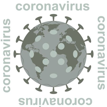 coronavirus and globe, vector illustration,flat style, front view