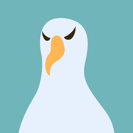 albatros bird head,vector illustration, flat style,front side