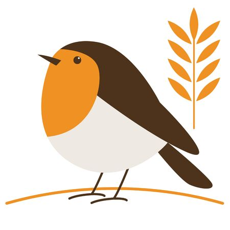 robin bird, vector illustration, flat style,profile side 일러스트