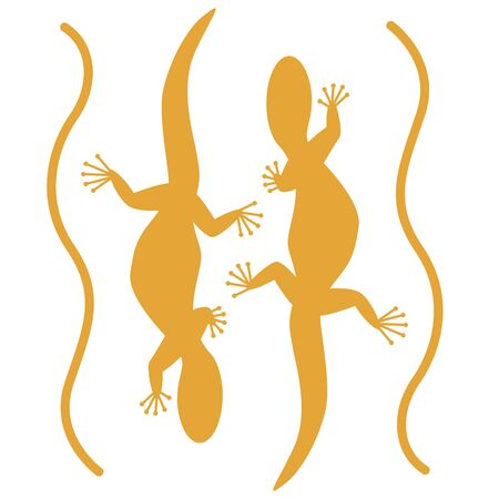 lizard set,vector illustration, yellow silhouette,front view