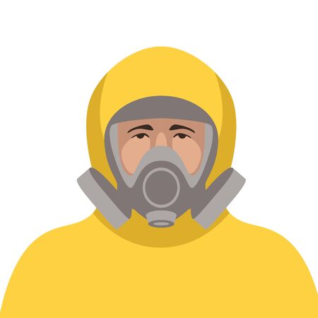 man in protective suit and mask ,vector illustration, flat style 일러스트
