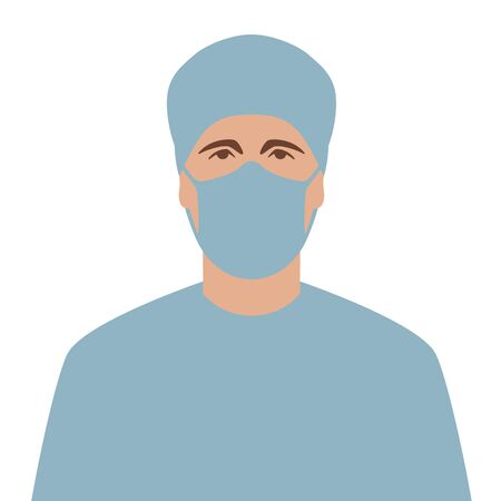 doctor in protective mask, vector illustration,flat style, front side