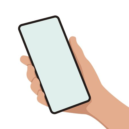 smartphone in hand,vector illustration, flat style ,front view