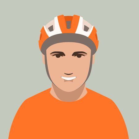 smiling cyclist in protective helmet, vector illustration, flat  style, front side