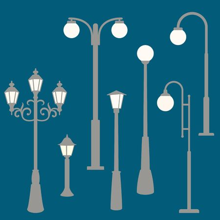 Park Street lights, vector illustration,flat style, set