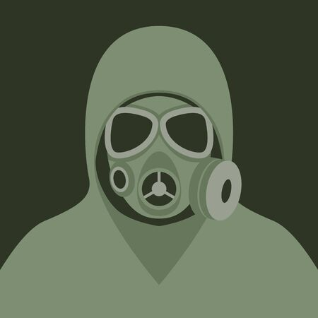man in a protective suit and gas mask with glasses, vector illustration,flat style,front side