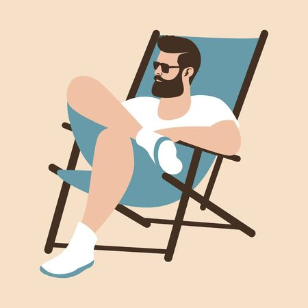 young man on deck chair, vector illustration, flat style 일러스트