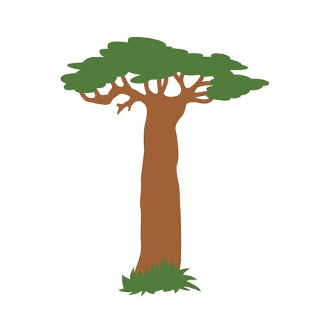 lone baobab tree, vector illustration,flat style