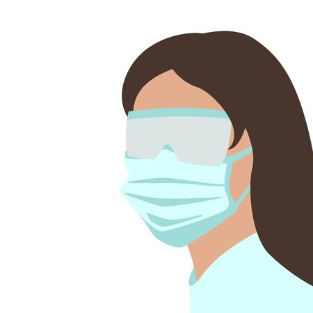 woman in protective mask and glasses, vector illustration, flat style 일러스트