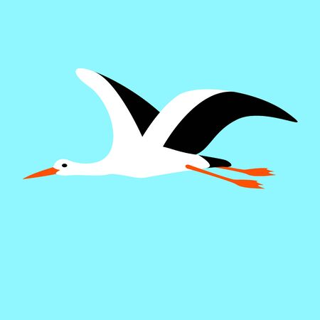 stork flying, vector illustration, flat style, profile side