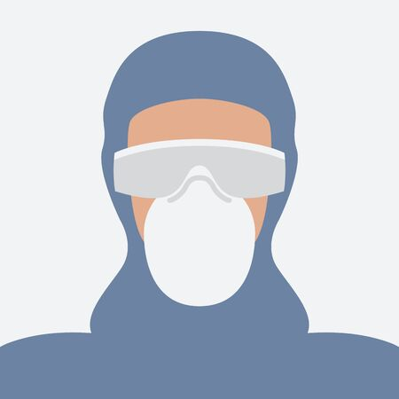 health worker in protective gear, vector illustration, flat style