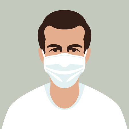man in protective mask, vector illustration, flat style , front side