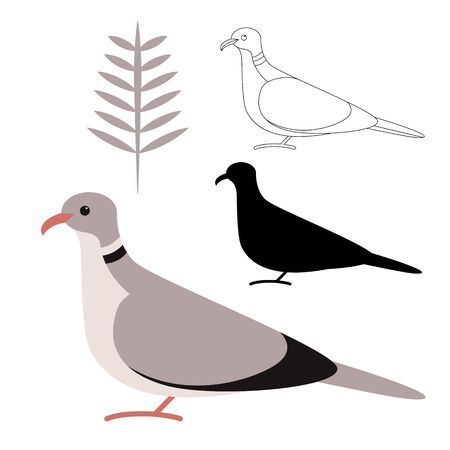 European Turtle-dove's ,vector illustration,flat style, black silhouette