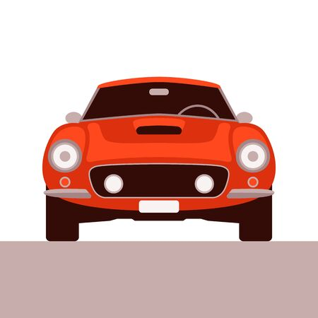 red vintage car, vector illustration,flat style , front view