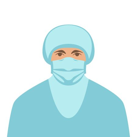 medical worker in protective mask, vector illustration, flat style