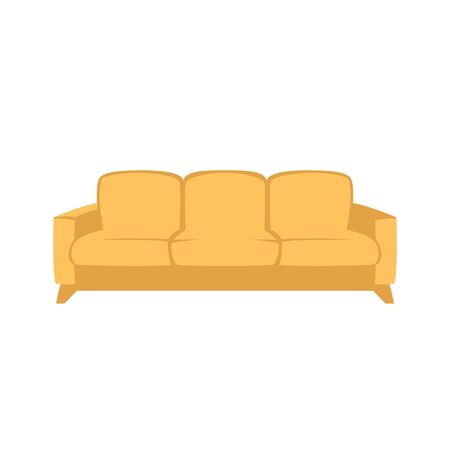yellow sofa, vector illustration, flat style, front side