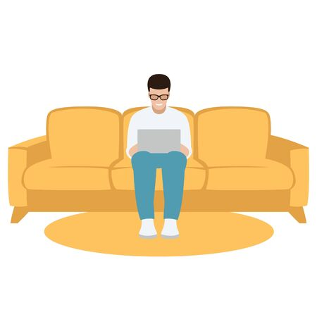 man with laptop computer on yellow sofa, vector illustration, flat style