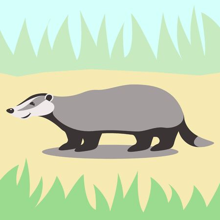 badger cartoon,flat style , profile side,  vector illustration