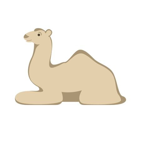 camel cartoon , vector illustration, flat style, profile side