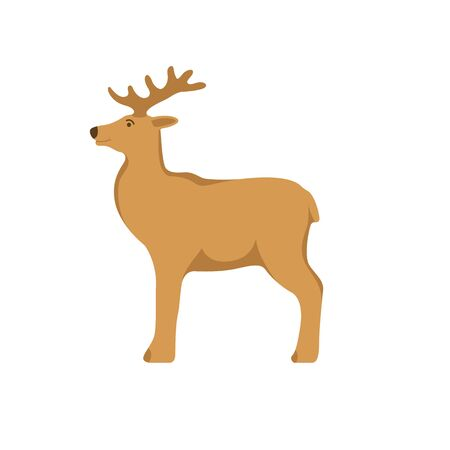 deer  cartoon , vector illustration, flat style, profile side