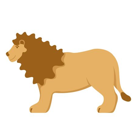 lion  cartoon , vector illustration, flat style, profile side