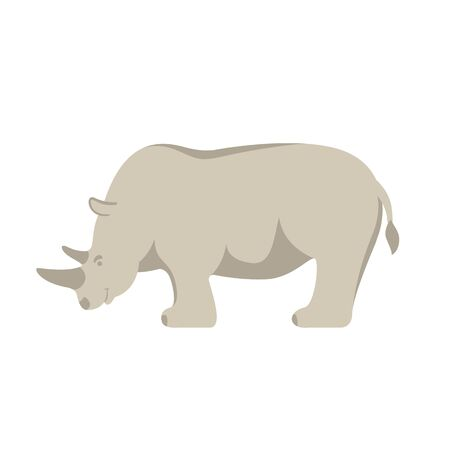 rino  cartoon , vector illustration, flat style, profile side