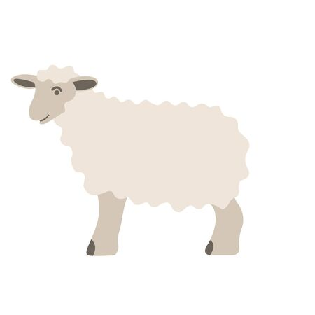 sheep cartoon , vector illustration, flat style, profile side 일러스트