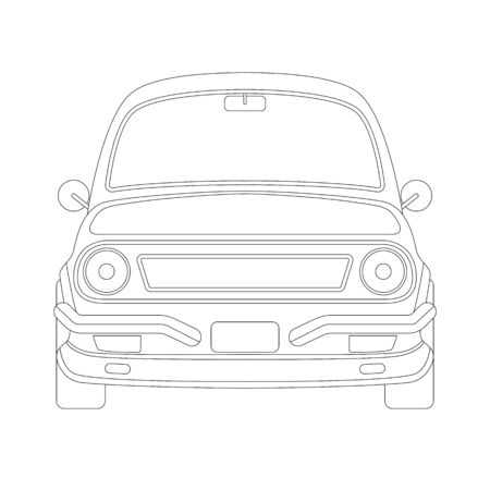 ckassic vintage car front view, vector illustration , lining draw