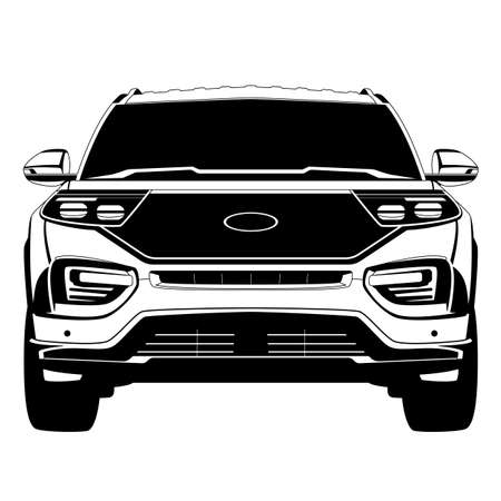 car silhouette offroad vehicle, front view, flat style, vector illustration 일러스트