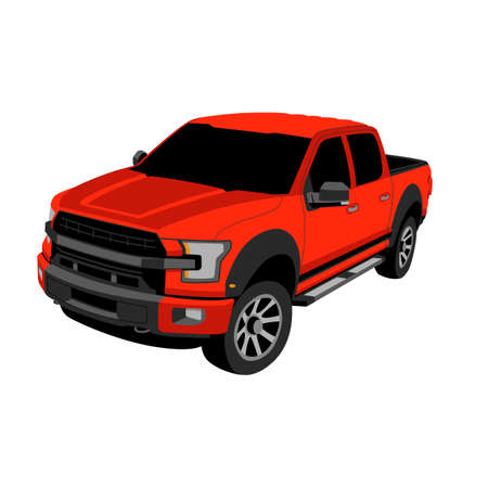 modern off road truck, vector illustration, flat style, profile view