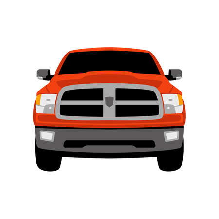 red off road crossover front view, flat style, vector 일러스트