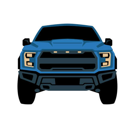 blue modern truck offroad, front view, vector illustration