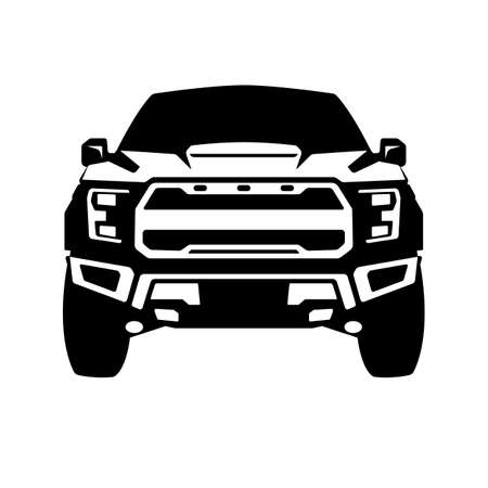 truck offroad black silhouette, front view, vector illustration 일러스트