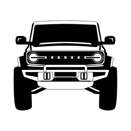 off road truck, front view, vector illustration, flat style