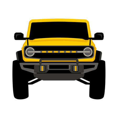 yellow off road truck, front view, vector illustration, flat style