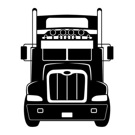 semi truck front view, black silhouette, front view 일러스트
