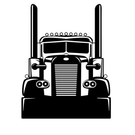 Semi USA truck, vector illustration, flat style, front view