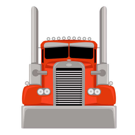 Red semi truck, vector illustration, flat style, front view