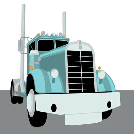 Semi truck vintage, vector illustration, flat style, front view