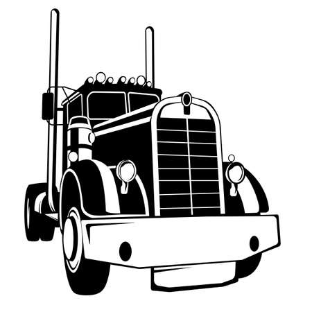 usa semi truck front view, black silhouette, vector illustration