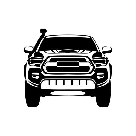 off road crossover, vector illustration, front view, black silhouette