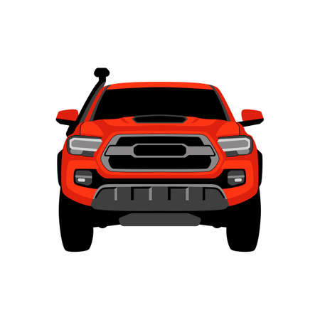 red off road crossover, vector illustration, front view, flat style 일러스트